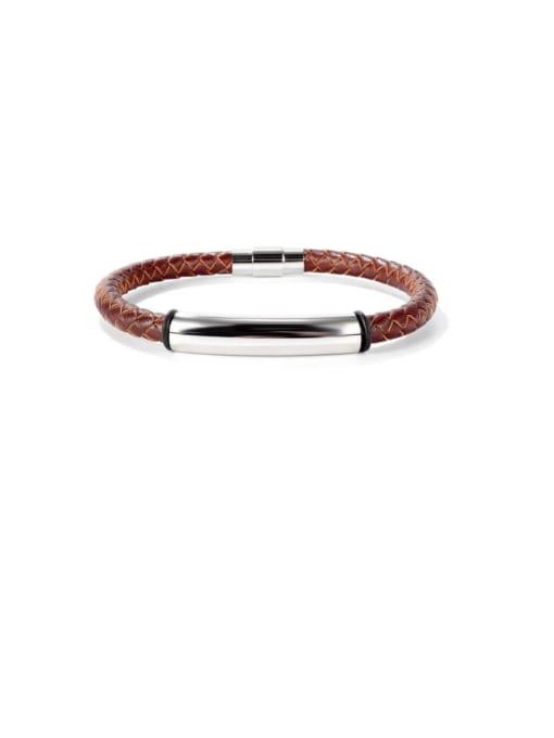1469 Leather Bracelet [Brown] Titanium Steel Leather Geometric Hip Hop Woven Bracelet